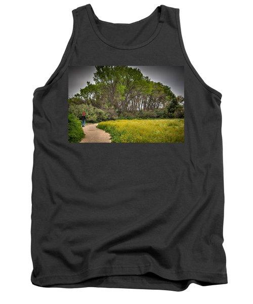 Walking Path In Tall Oak Trees In Spring Tank Top