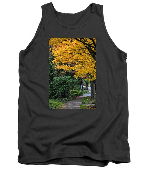 Walkway Under A Canopy Of Yellow Tank Top by Kirt Tisdale