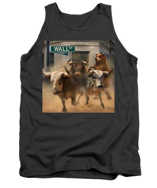 Wall Street -- Bull And Bear Markets Tank Top by Doug Kreuger