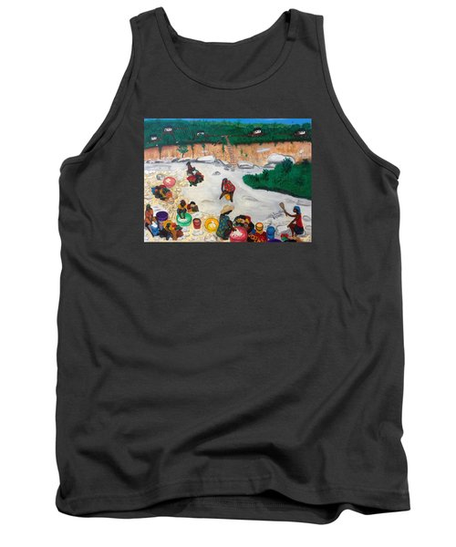 Tank Top featuring the painting Washing Clothes By The Riverside In Haiti by Nicole Jean-Louis