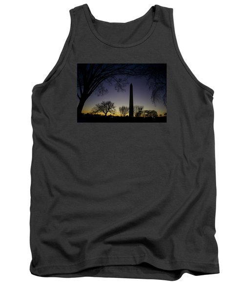 Washington Monument At Twilight With Moon Tank Top