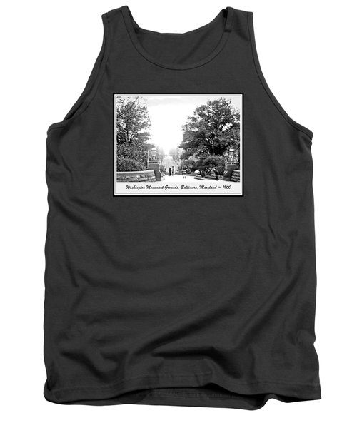 Tank Top featuring the photograph Washington Monument Grounds Baltimore 1900 Vintage Photograph by A Gurmankin