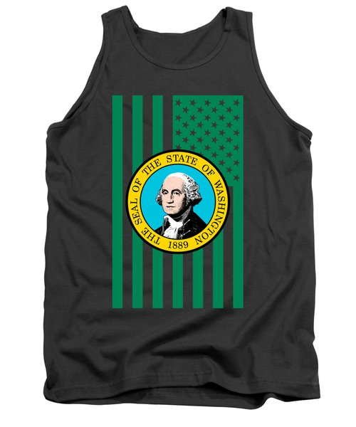 Washington State Flag Graphic Usa Styling Tank Top