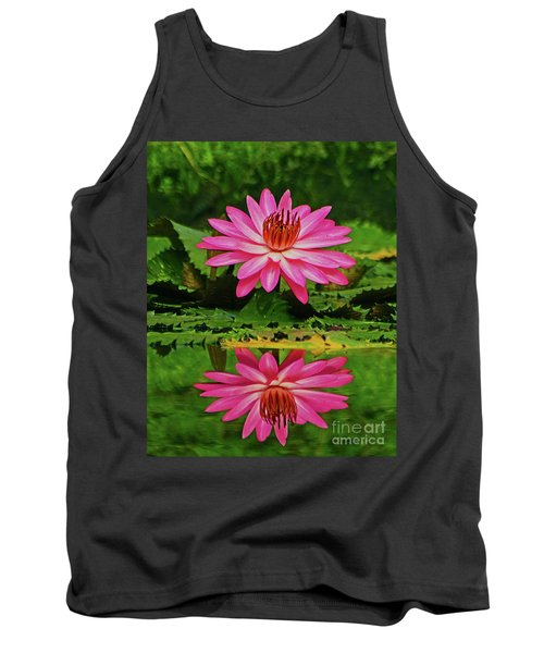 Hot Pink Water Lily Reflection Tank Top by Larry Nieland