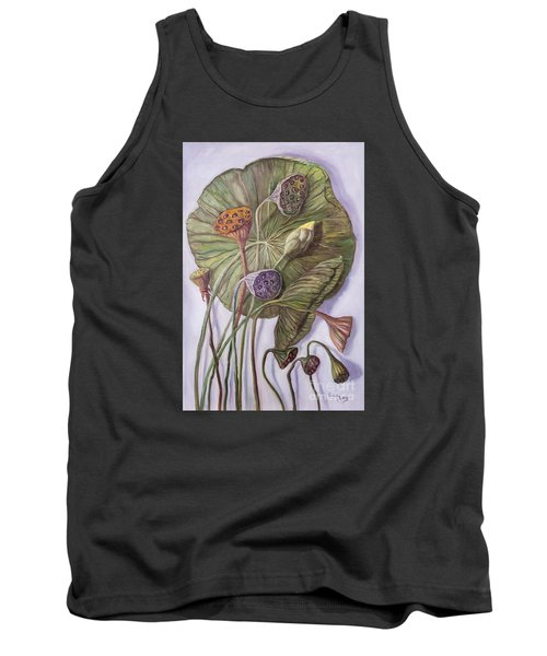 Water Lily Seed Pods Framed By A Leaf Tank Top by Randy Burns