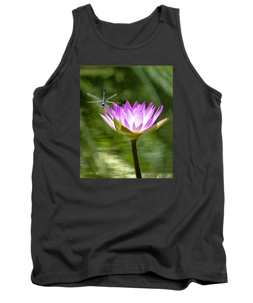Tank Top featuring the photograph Water Lily With Dragon Fly by Bill Barber