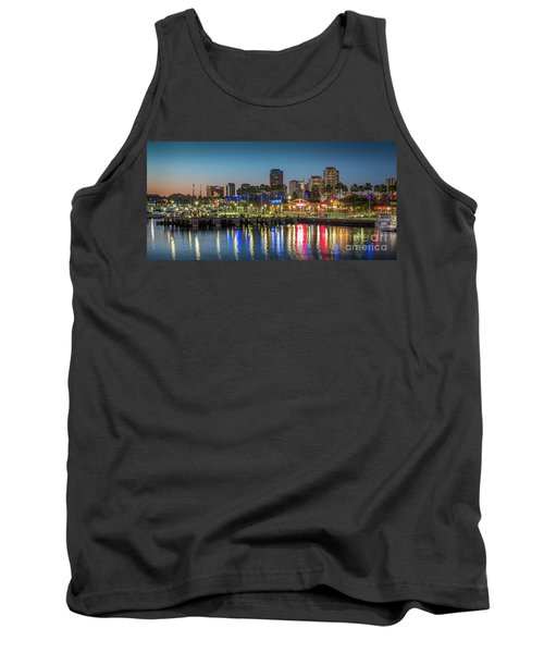Water Reflecting Lights Sunset Long Beach Ca Tank Top