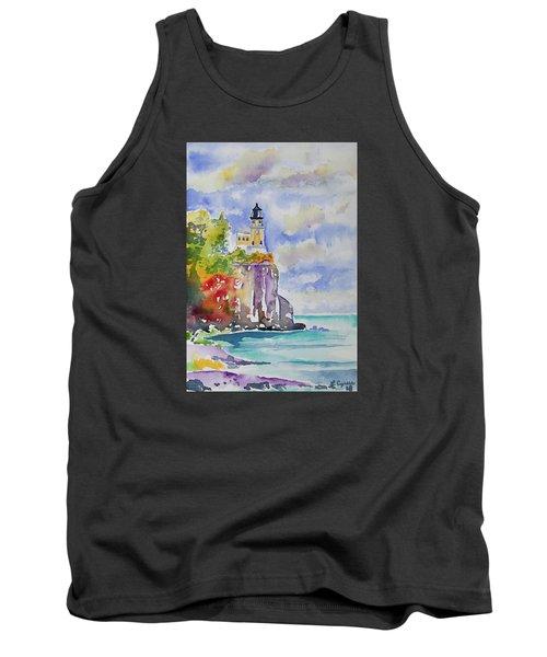 Watercolor - Autumn At Split Rock Lighthouse Tank Top
