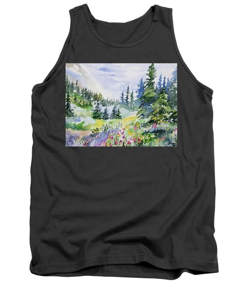 Watercolor - Colorado Summer Scene Tank Top