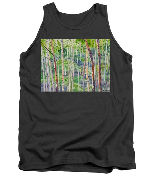 Watercolor - Magical Aspen Forest After A Spring Rain Tank Top