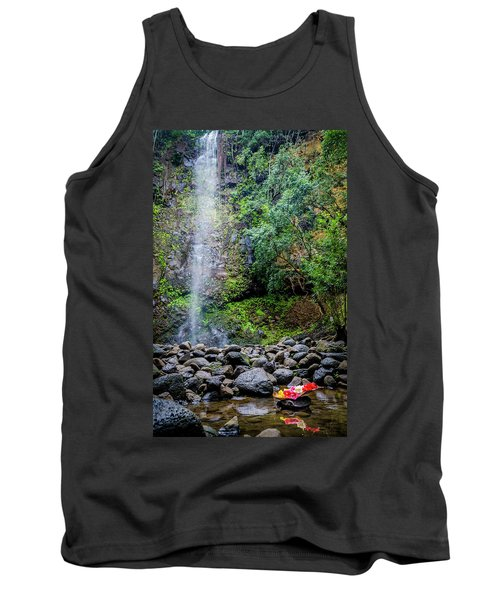 Waterfall And Flowers Tank Top