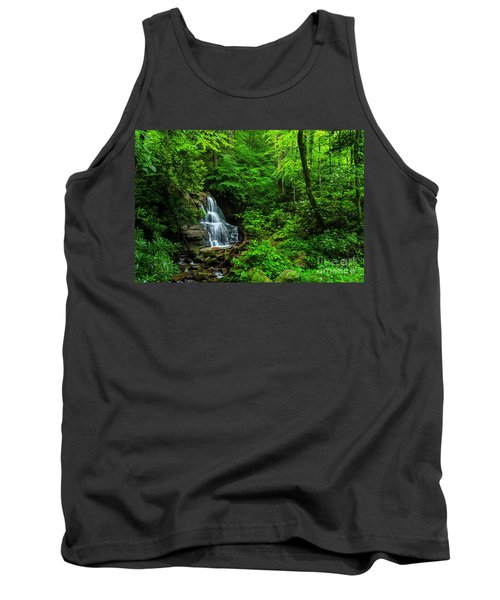 Waterfall And Rhododendron In Bloom Tank Top