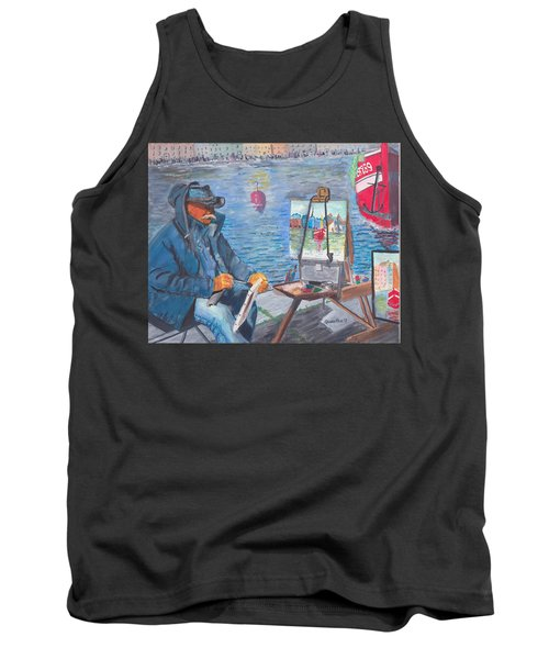 Tank Top featuring the painting Waterfront Artist by Quwatha Valentine