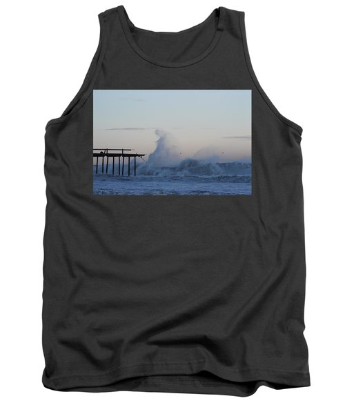 Wave Towers Over Oc Fishing Pier Tank Top