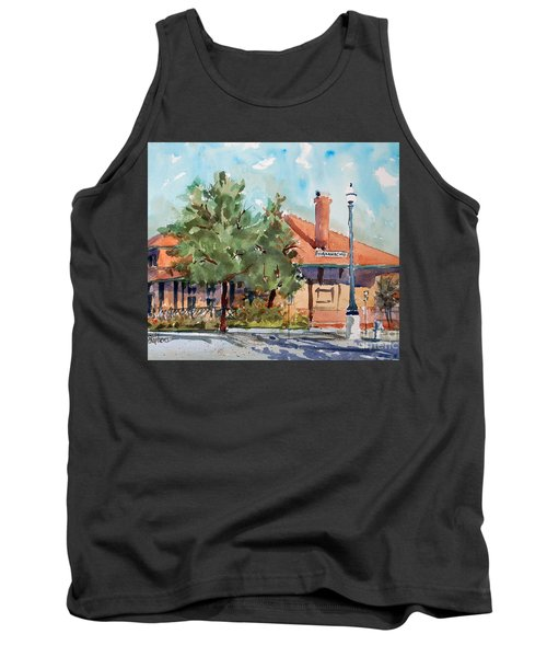 Tank Top featuring the painting Waxachie Train Station by Ron Stephens