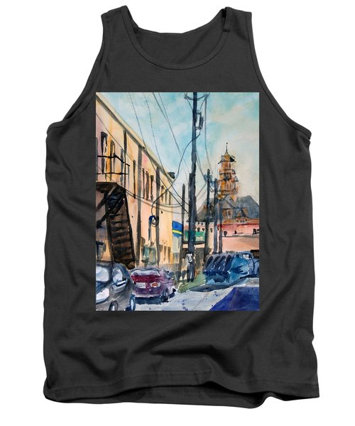 Tank Top featuring the painting Waxahachie Back Alley by Ron Stephens