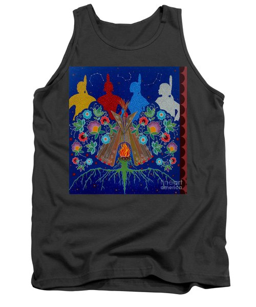 Tank Top featuring the painting We Are One Bond by Chholing Taha