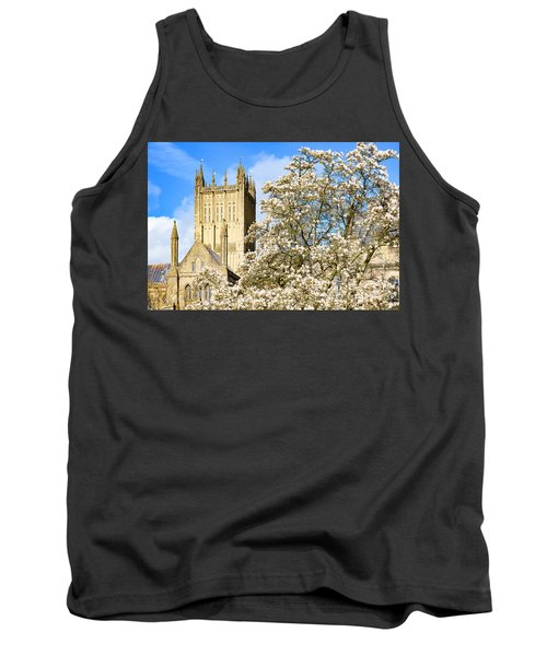 Tank Top featuring the photograph Wells Cathedral And Spring Blossom by Colin Rayner