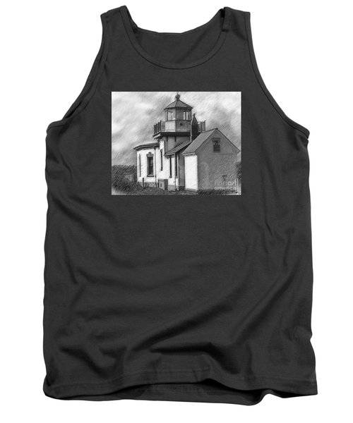 West Point Lighthouse Sketched Tank Top by Kirt Tisdale