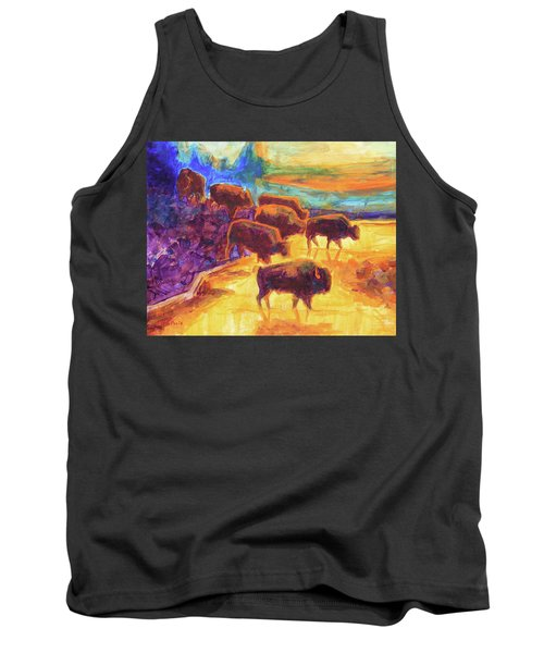 Western Buffalo Art Bison Creek Sunset Reflections Painting T Bertram Poole Tank Top by Thomas Bertram POOLE