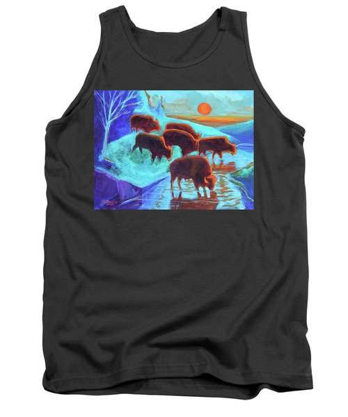 Western Buffalo Art Six Bison At Sunset Turquoise Painting Bertram Poole Tank Top by Thomas Bertram POOLE