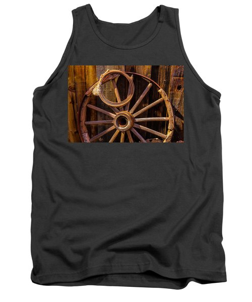 Western Rope And Wooden Wheel Tank Top