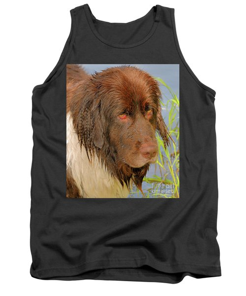 Tank Top featuring the photograph Wet Newfie by Debbie Stahre