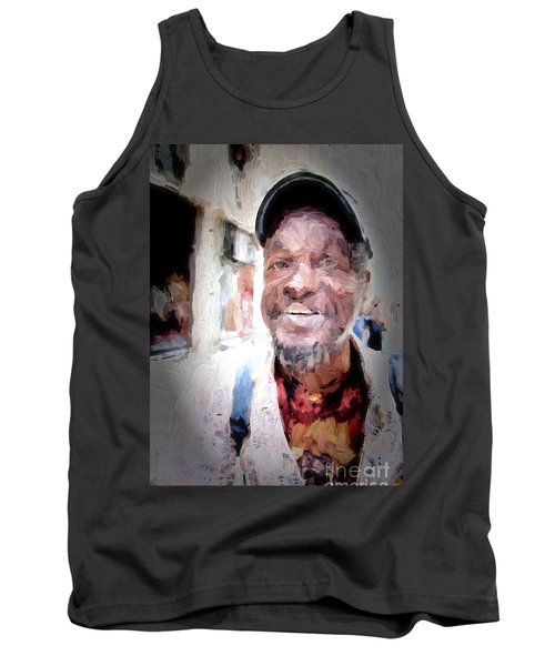Tank Top featuring the photograph The Smiling Man by Jack Torcello
