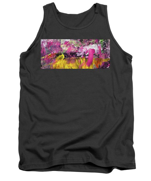 Whatever Makes You Happy - Large Pink And Yellow Abstract Painting Tank Top