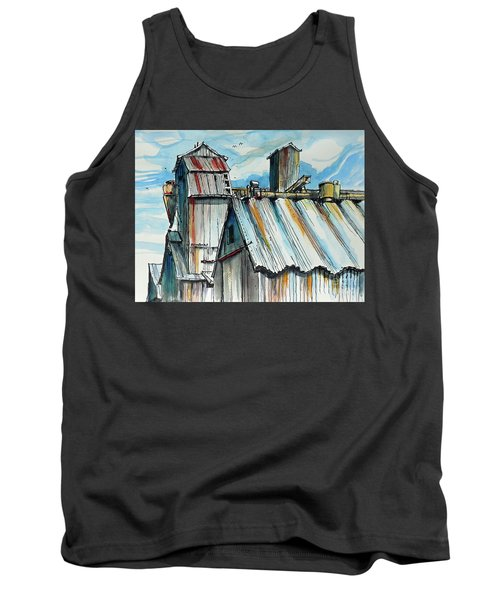Tank Top featuring the painting Wheatland High Rise by Terry Banderas