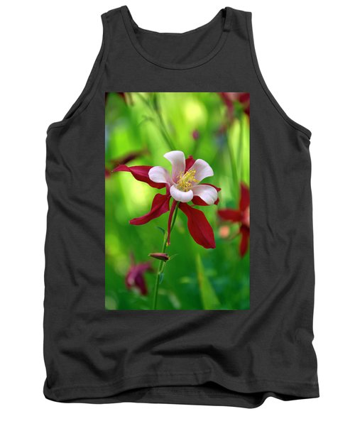 White And Red Columbine  Tank Top