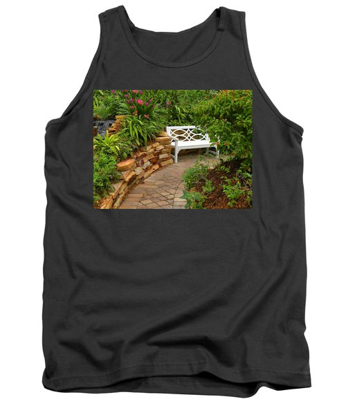 Tank Top featuring the photograph White Bench In The Garden by Rosalie Scanlon