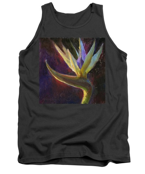 Tank Top featuring the painting White Bird Of Paradise -tropical Flower Painting by Karen Whitworth