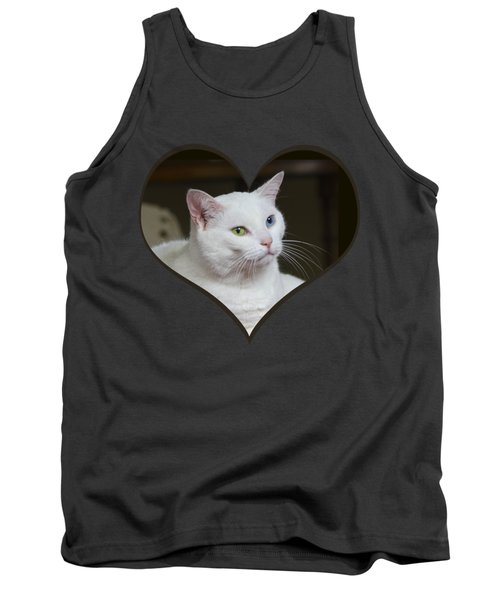 White Cat On A Transparent Heart Tank Top by Terri Waters