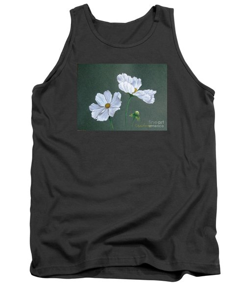 White Cosmos Tank Top by Phyllis Howard