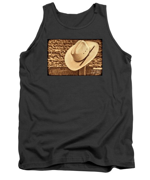 White Cowboy Hat On Fence Tank Top by American West Legend By Olivier Le Queinec