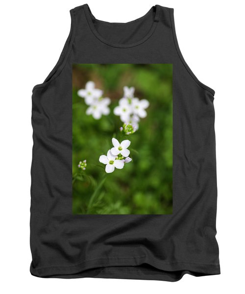 White Cuckoo Flowers Tank Top