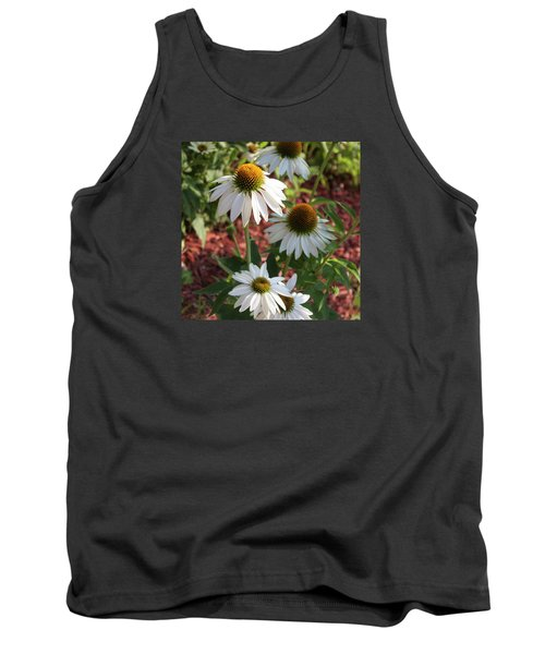 White Echinacea Tank Top by Suzanne Gaff