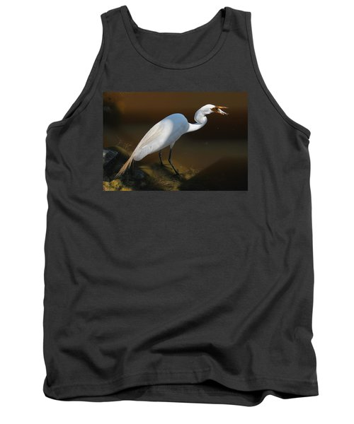 White Egret Fishing For Midday Meal II Tank Top by Suzanne Gaff