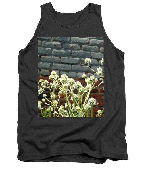 White Flowers And Bricks Tank Top by Susan Lafleur