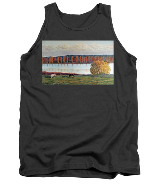 Tank Top featuring the painting White Horse Black Horse by Laurie Stewart
