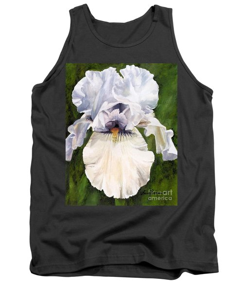 Tank Top featuring the painting White Iris by Laurie Rohner