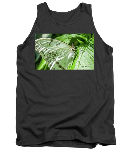 Tank Top featuring the photograph White Morpho Butterfly by Joann Copeland-Paul