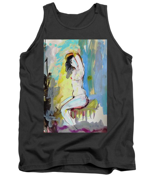 White Nude And Bird Tank Top by Amara Dacer