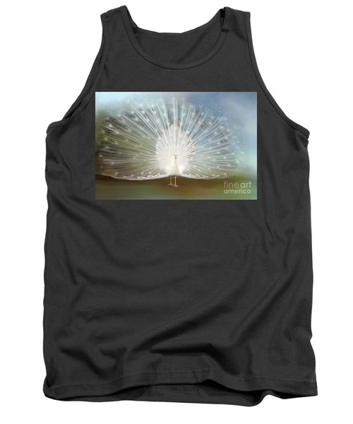 Tank Top featuring the photograph White Peacock In All His Glory by Bonnie Barry