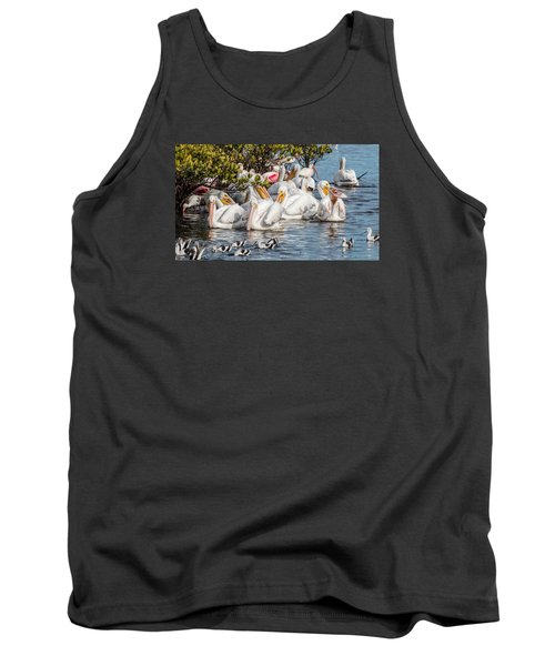 White Pelicans And Others Tank Top by Dorothy Cunningham