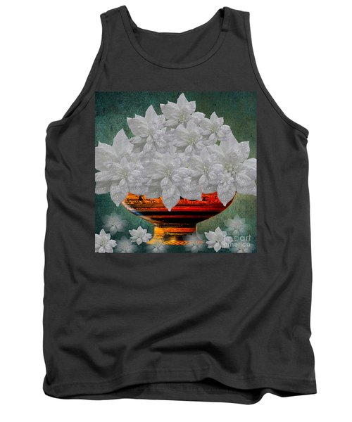 White Poinsettias In A Bowl Tank Top by Saundra Myles