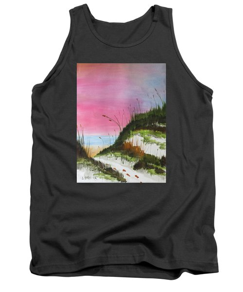 Tank Top featuring the painting White Sandy Beach by Jack G Brauer