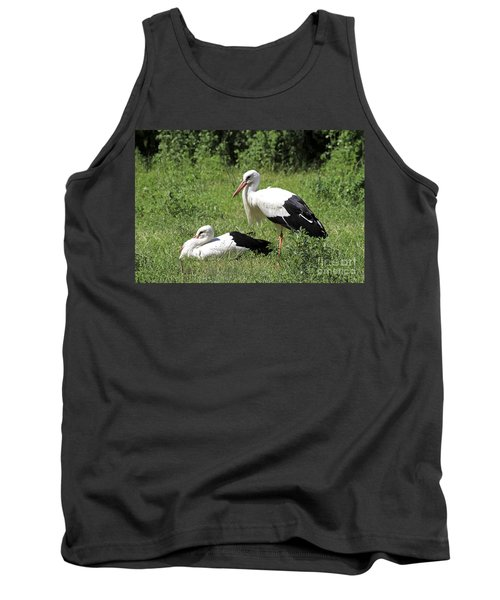 White Storks Tank Top by Teresa Zieba