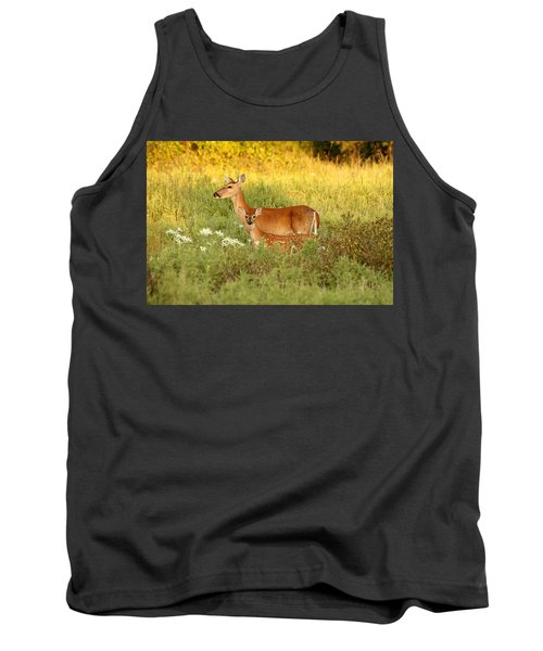 White-tail Doe And Fawn In Meadow Tank Top